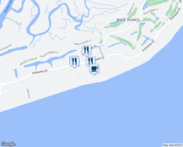 map of restaurants, bars, coffee shops, grocery stores, and more near 117 Grand Pavilion Boulevard in Isle of Palms