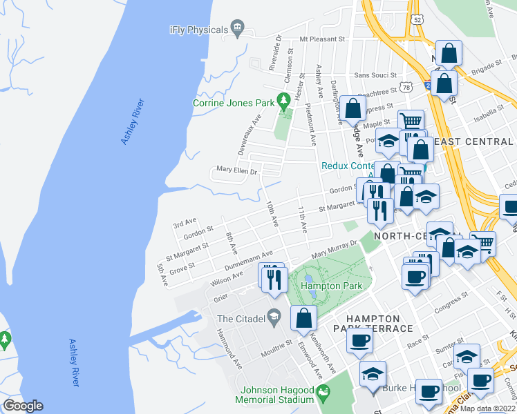 map of restaurants, bars, coffee shops, grocery stores, and more near 134 Gordon Street in Charleston