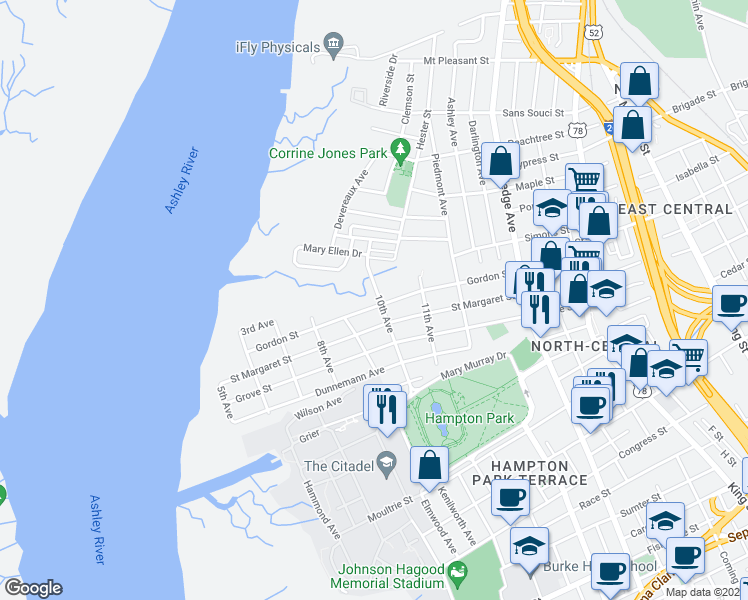 map of restaurants, bars, coffee shops, grocery stores, and more near 122 Gordon Street in Charleston