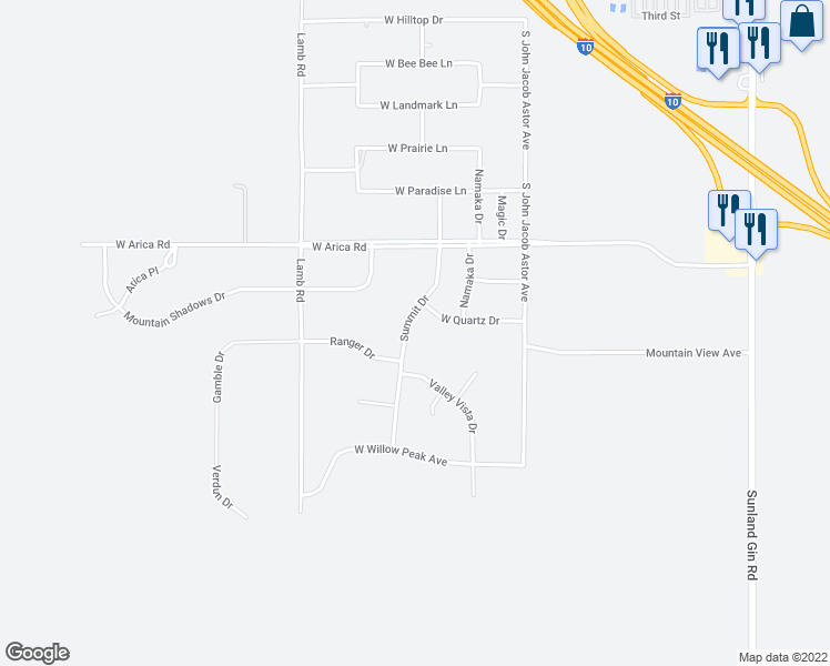 map of restaurants, bars, coffee shops, grocery stores, and more near 8351 Summit Drive in Casa Grande