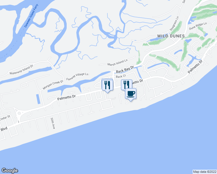 map of restaurants, bars, coffee shops, grocery stores, and more near 5 Twin Oaks Lane in Isle of Palms
