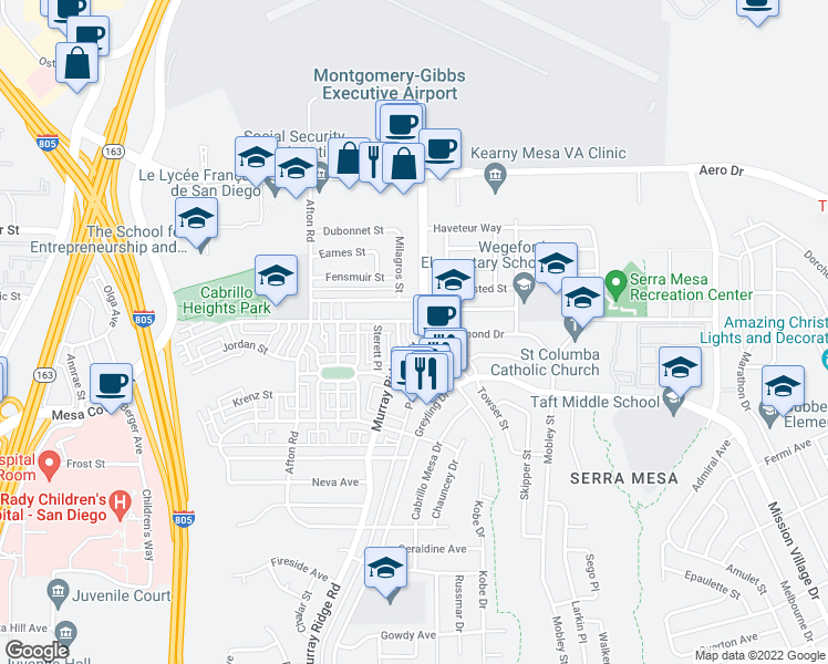 map of restaurants, bars, coffee shops, grocery stores, and more near 3360 Murray Ridge Road in San Diego