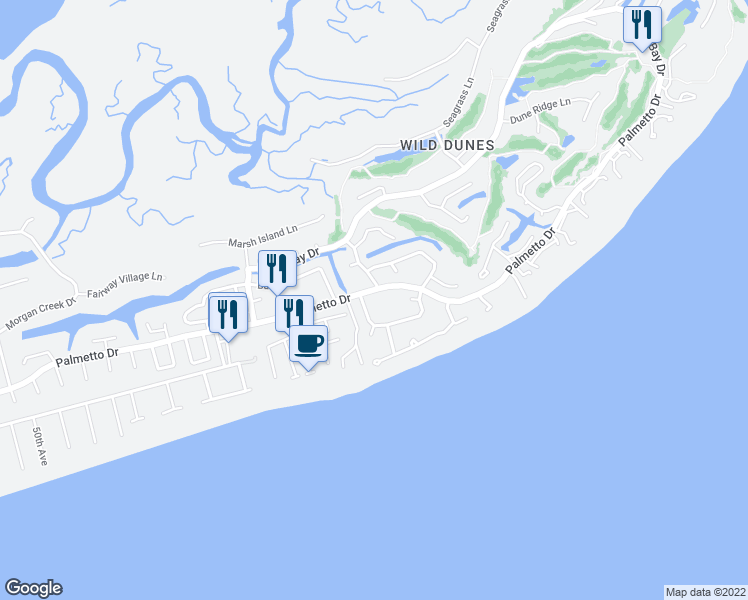 map of restaurants, bars, coffee shops, grocery stores, and more near 37 Beachwood West in Isle of Palms