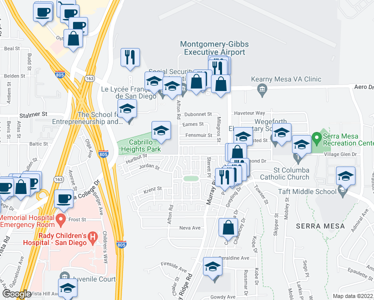 map of restaurants, bars, coffee shops, grocery stores, and more near 8534-8574 Hurlbut Street in San Diego