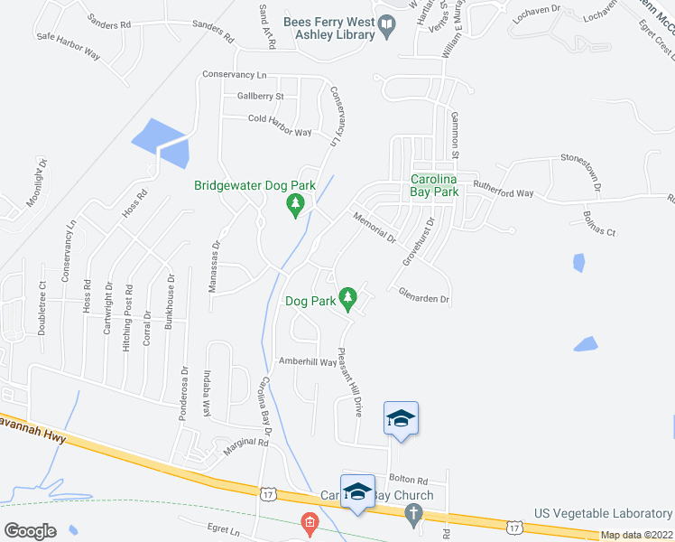 map of restaurants, bars, coffee shops, grocery stores, and more near Oaks at Carolina Bay in Charleston County