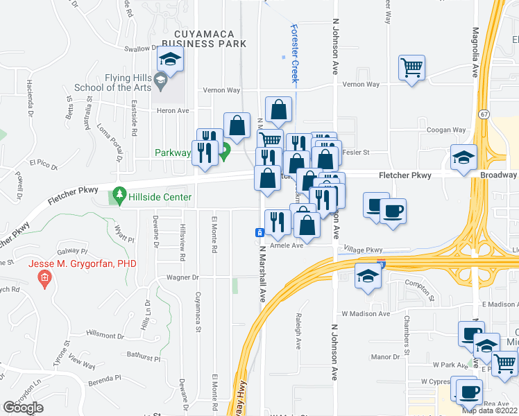 map of restaurants, bars, coffee shops, grocery stores, and more near 800-844 North Marshall Avenue in El Cajon
