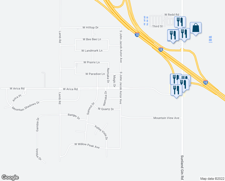map of restaurants, bars, coffee shops, grocery stores, and more near 10575 West Arica Road in Casa Grande