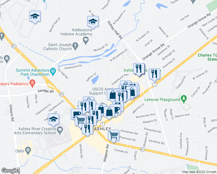 map of restaurants, bars, coffee shops, grocery stores, and more near 1704 North Woodmere Drive in Charleston