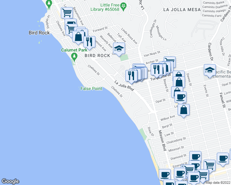 map of restaurants, bars, coffee shops, grocery stores, and more near 5220 Chelsea Street in La Jolla