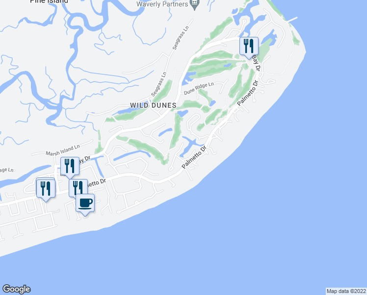 map of restaurants, bars, coffee shops, grocery stores, and more near 18 Pelican Reach in Isle of Palms