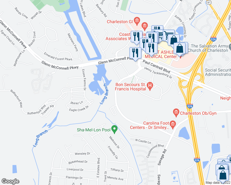 map of restaurants, bars, coffee shops, grocery stores, and more near 2290 Henry Tecklenburg Drive in Charleston