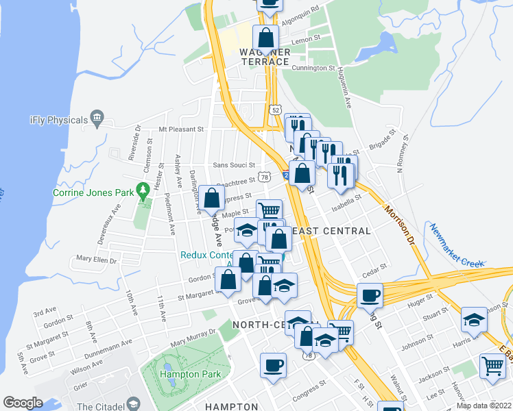 map of restaurants, bars, coffee shops, grocery stores, and more near 52 Maple Street in Charleston