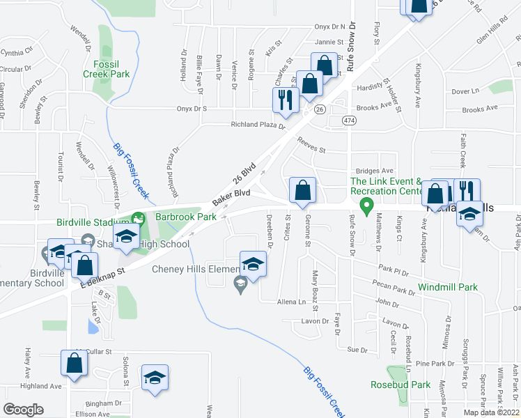 map of restaurants, bars, coffee shops, grocery stores, and more near 6340 Baker Boulevard in Richland Hills