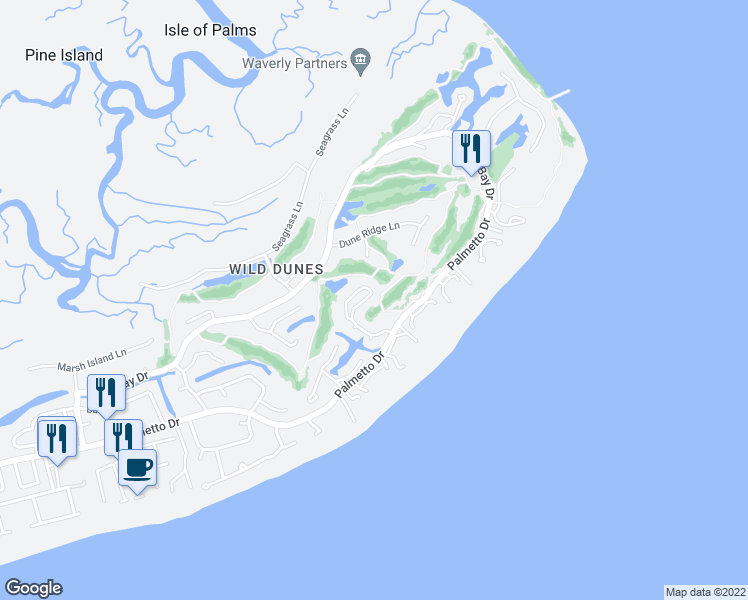 map of restaurants, bars, coffee shops, grocery stores, and more near 26 Fairway Dunes Lane in Isle of Palms