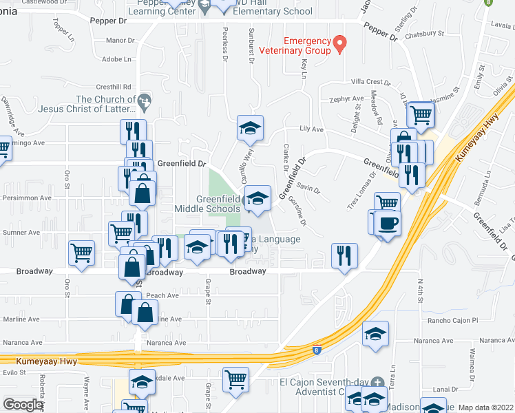map of restaurants, bars, coffee shops, grocery stores, and more near 1487-1499 Greenfield Drive in El Cajon