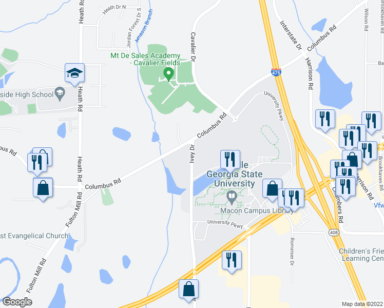 map of restaurants, bars, coffee shops, grocery stores, and more near 5093-5099 Ivey Drive in Macon