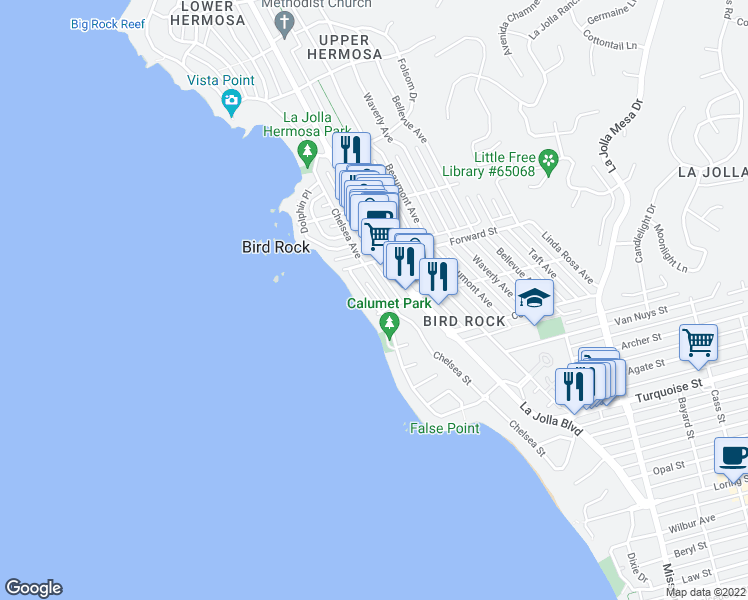 map of restaurants, bars, coffee shops, grocery stores, and more near 5519 Calumet Avenue in San Diego