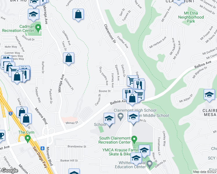 map of restaurants, bars, coffee shops, grocery stores, and more near 3931 Chippewa Court in San Diego