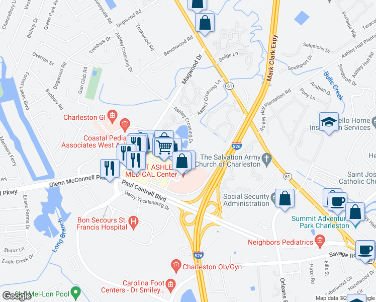 map of restaurants, bars, coffee shops, grocery stores, and more near 2244 Ashley Crossing Drive in Charleston
