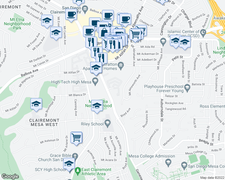 map of restaurants, bars, coffee shops, grocery stores, and more near 5550 Genesee Court in San Diego