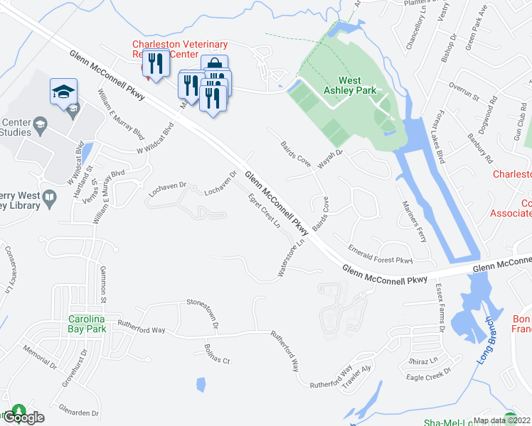 map of restaurants, bars, coffee shops, grocery stores, and more near 2400 Egret Crest Lane in Charleston