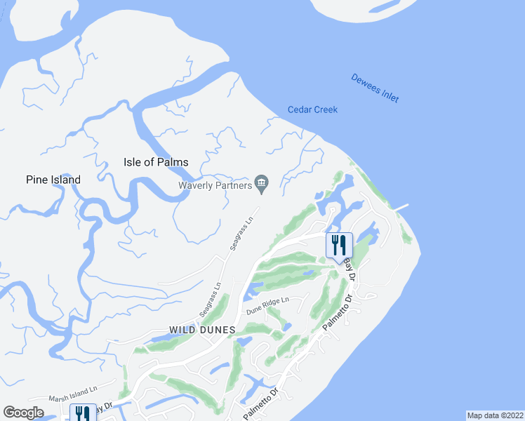 map of restaurants, bars, coffee shops, grocery stores, and more near 11 Seagrass Lane in Isle of Palms