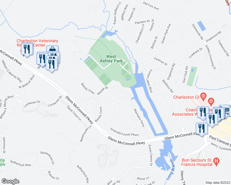 map of restaurants, bars, coffee shops, grocery stores, and more near 1690 Wayah Dr in Charleston