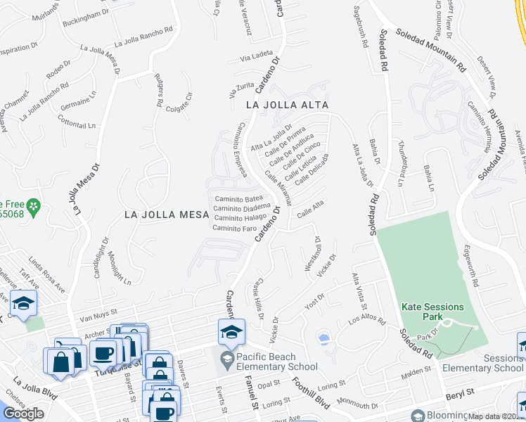 map of restaurants, bars, coffee shops, grocery stores, and more near 1459 Caminito Diadema in San Diego