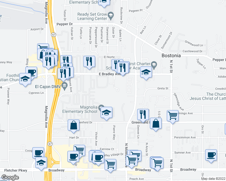 map of restaurants, bars, coffee shops, grocery stores, and more near 1518 Sams Hill Road in El Cajon