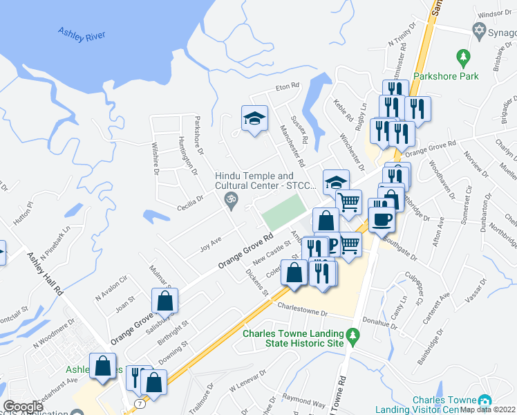 map of restaurants, bars, coffee shops, grocery stores, and more near 311 Royal Palm Boulevard in Charleston