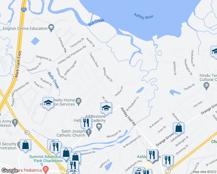 map of restaurants, bars, coffee shops, grocery stores, and more near 1871 Ashley Hall Road in Charleston