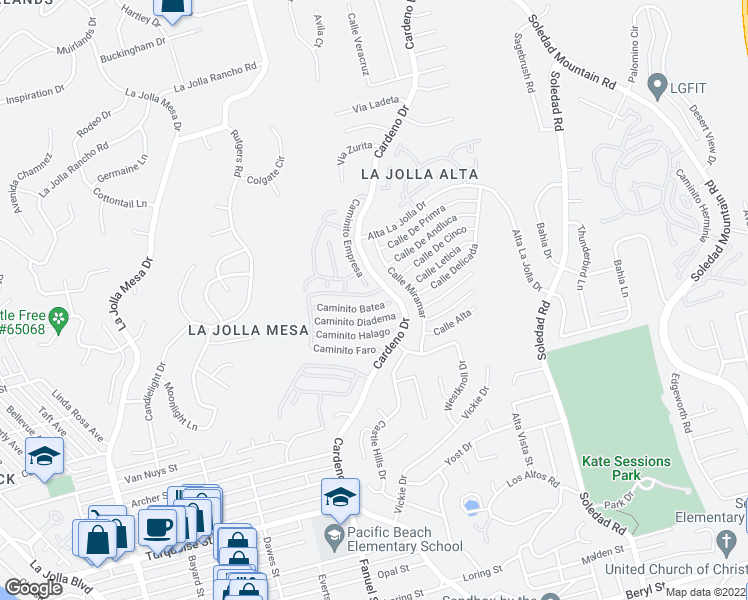 map of restaurants, bars, coffee shops, grocery stores, and more near 1445 Caminito Acento in La Jolla