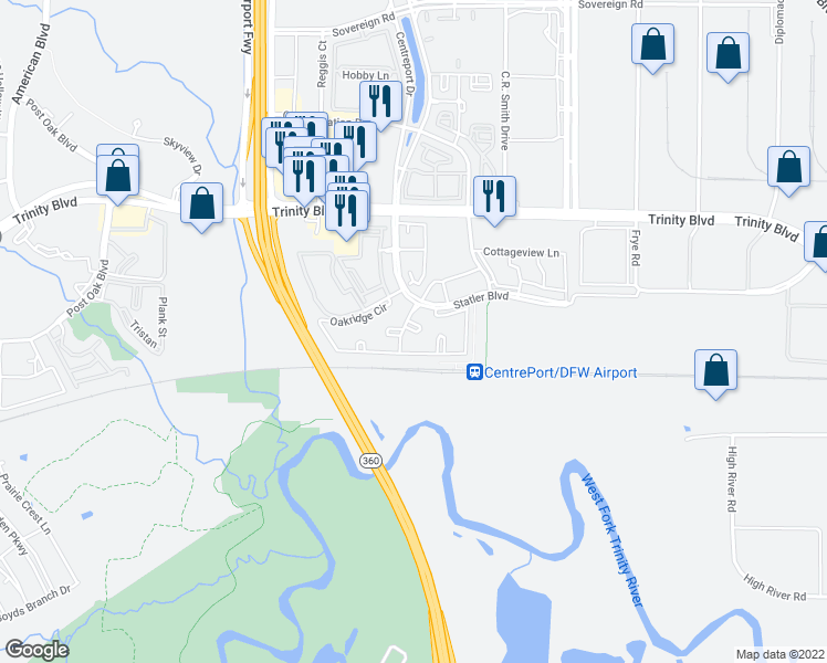 map of restaurants, bars, coffee shops, grocery stores, and more near Woodrun Ct in Fort Worth