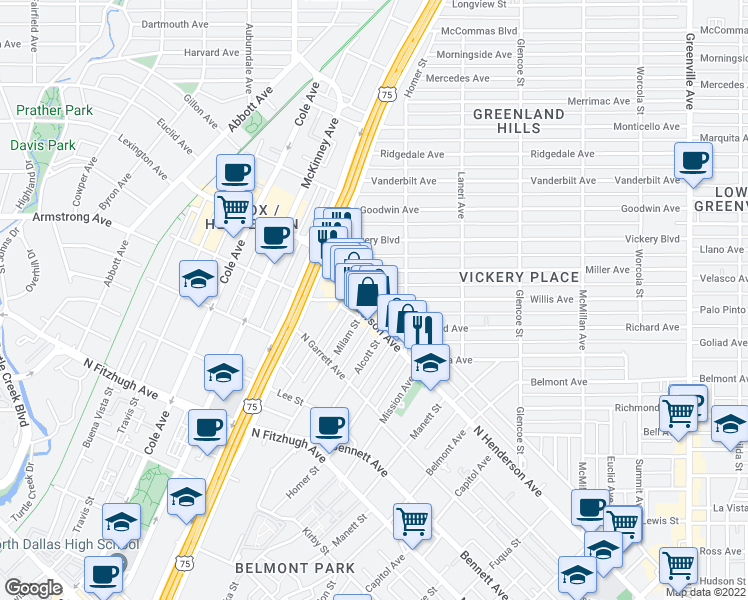 map of restaurants, bars, coffee shops, grocery stores, and more near 5140 Willis Avenue in Dallas