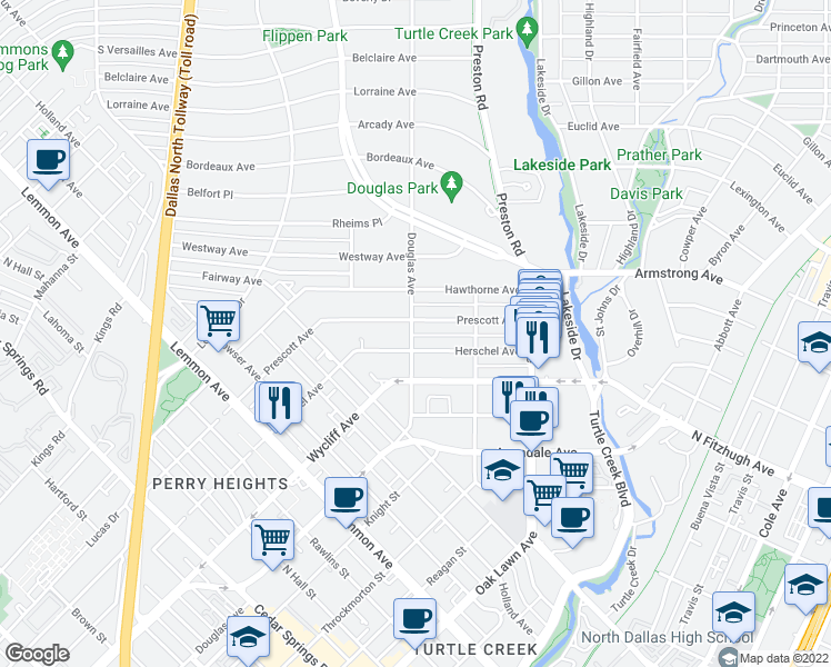 map of restaurants, bars, coffee shops, grocery stores, and more near 4358 Douglas Avenue in Dallas