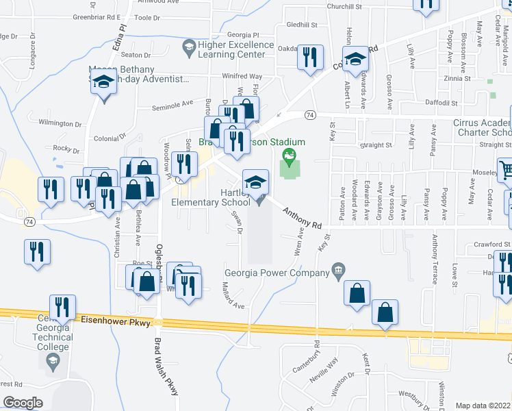 map of restaurants, bars, coffee shops, grocery stores, and more near 2230 Anthony Road in Macon