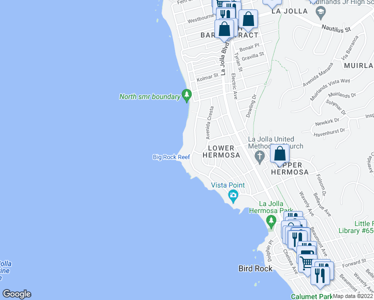 map of restaurants, bars, coffee shops, grocery stores, and more near 6266 Camino De La Costa in San Diego