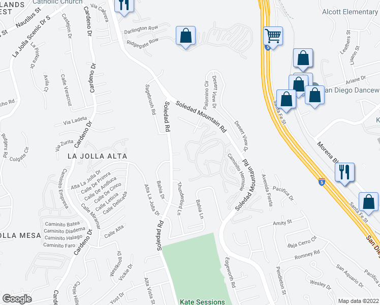 map of restaurants, bars, coffee shops, grocery stores, and more near 2060 Caminito Circulo Norte in La Jolla