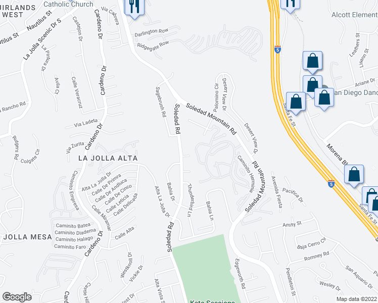 map of restaurants, bars, coffee shops, grocery stores, and more near 2422 Soledad Court in San Diego