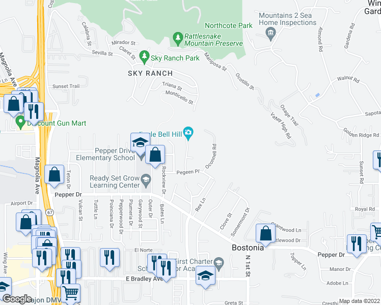 map of restaurants, bars, coffee shops, grocery stores, and more near 8343 Solomon Avenue in El Cajon