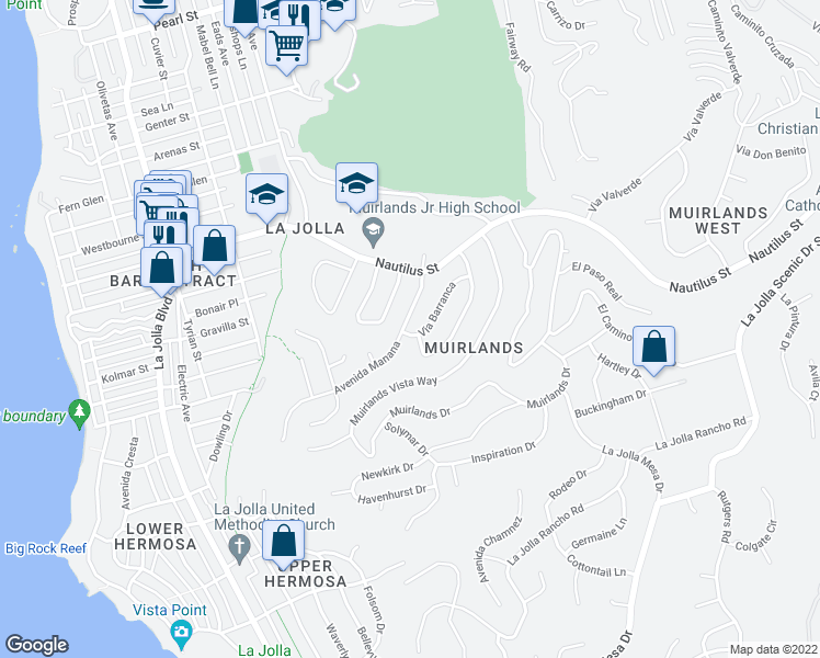 map of restaurants, bars, coffee shops, grocery stores, and more near 1202 Via Barranca in San Diego