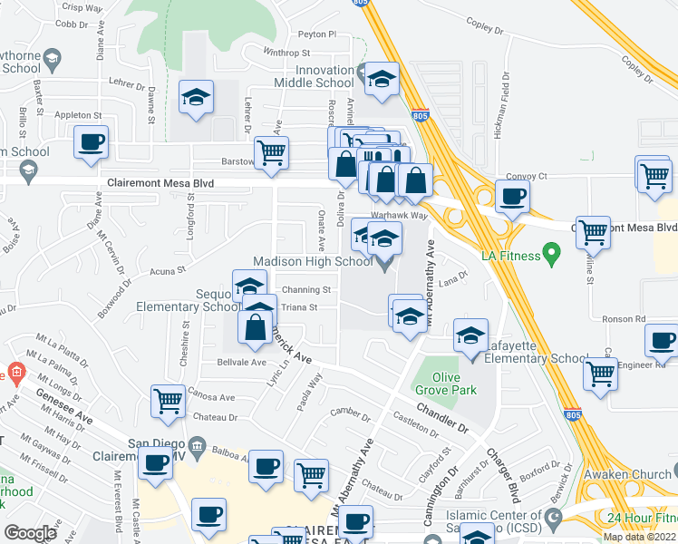 map of restaurants, bars, coffee shops, grocery stores, and more near Doliva Dr & Javier St in San Diego