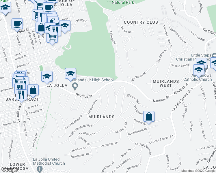map of restaurants, bars, coffee shops, grocery stores, and more near 1395 West Muirlands Drive in San Diego