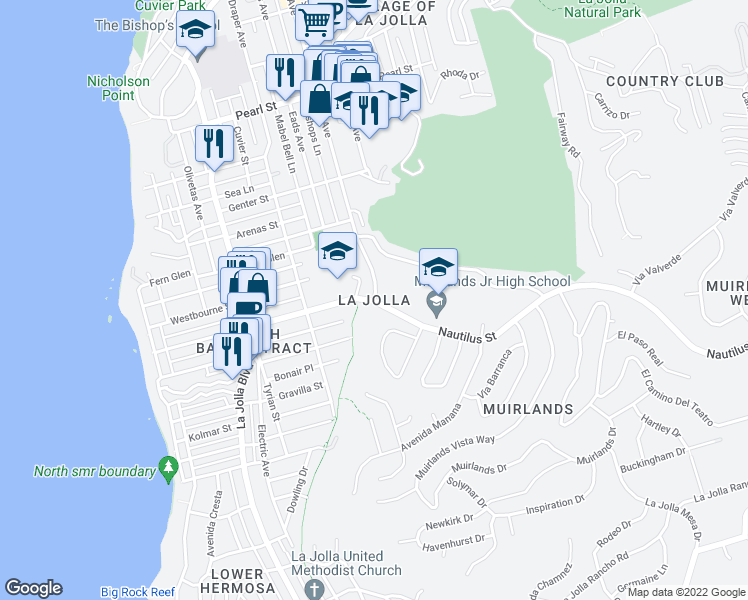 map of restaurants, bars, coffee shops, grocery stores, and more near in San Diego