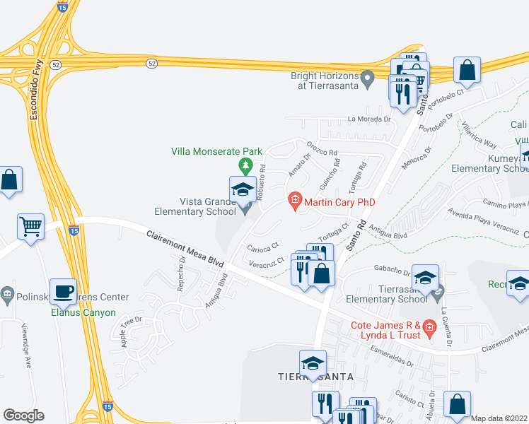 map of restaurants, bars, coffee shops, grocery stores, and more near 10342-10350 Matador Court in San Diego
