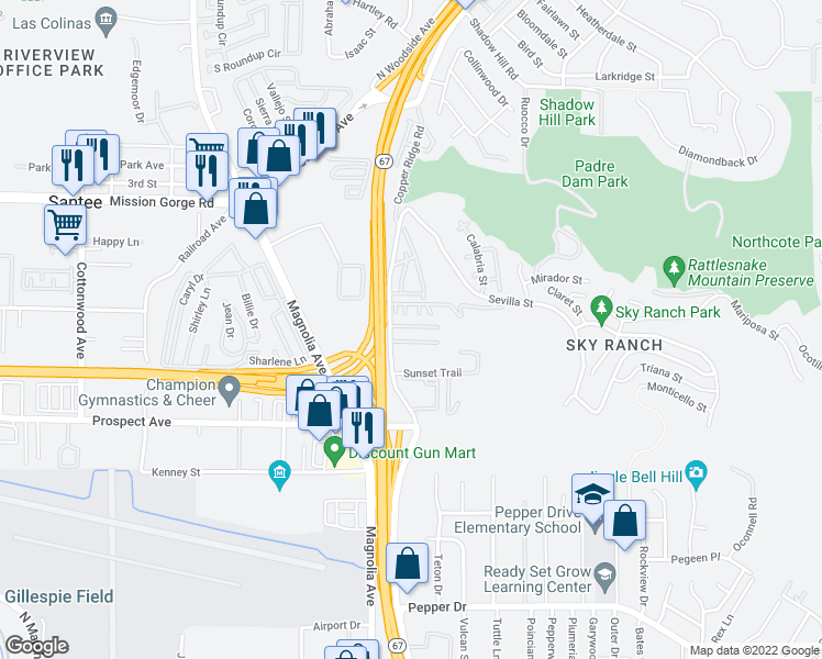 map of restaurants, bars, coffee shops, grocery stores, and more near 8729 Graves Avenue in Santee