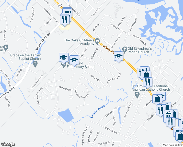 map of restaurants, bars, coffee shops, grocery stores, and more near 2648 Elissa Drive in Charleston