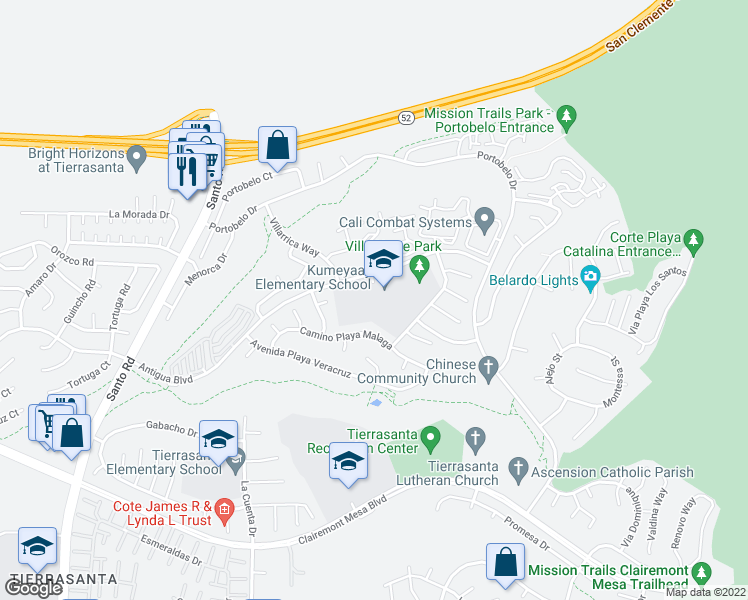 map of restaurants, bars, coffee shops, grocery stores, and more near 6475 Antigua Boulevard in San Diego