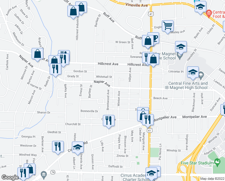 map of restaurants, bars, coffee shops, grocery stores, and more near 2780 Napier Avenue in Macon
