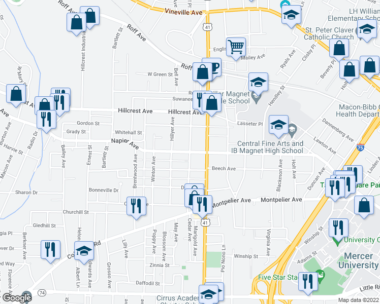 map of restaurants, bars, coffee shops, grocery stores, and more near 1065-1075 Courtland Avenue in Macon